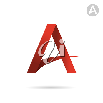 A letter sign, red gradient, color, 2d vector icon, eps 10