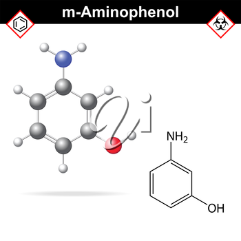 Meta aminophenol chemical structure and model, 2d and 3d vector illustration, eps 8