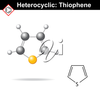Thiophene five-membered heterocyclic ring, molecular structure, 2d and 3d vector illustration, isolated on white background, eps 8