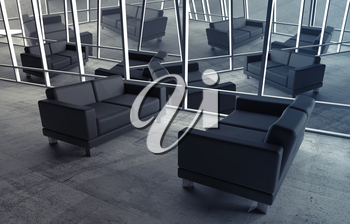 Abstract surreal office interior with concrete floor and black leather sofas, 3d illustration