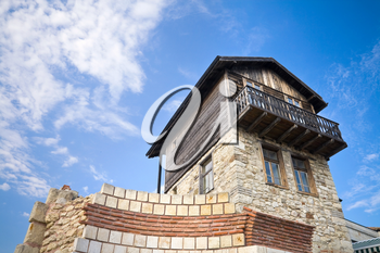 Old house with sky on background in ancient town Nessebur, Bulgaria