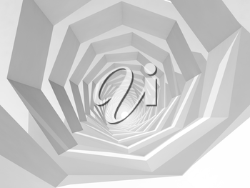 Abstract hypnotic cg background with empty white swirl tunnel interior perspective, 3d illustration