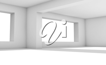 White room with wide windows, abstract empty interior background illustration, 3d render