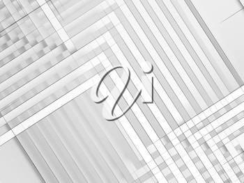 Abstract white background, geometric pattern of intersected paper stripes with wire frime lines. Digiral graphic, 3d render illustration