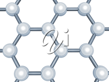 Graphene layer fragment, schematic molecular model, hexagonal lattice made of carbon atoms isolated on white background, 3d render illustration