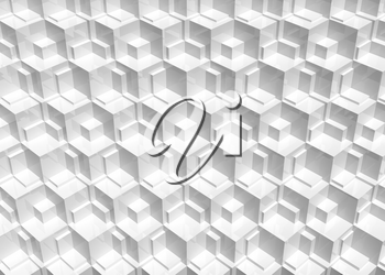 Abstract white cg pattern, background with cubical mosaic relief. 3d rendering illustration