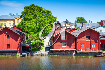 Historical Finnish town Porvoo. Old red wooden houses on river coast