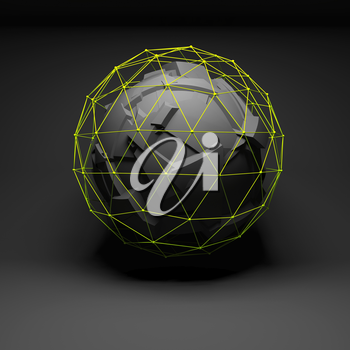 Abstract spherical object with chaotic fragmentation surface covered with bright green lattice wire-frame mesh, digital protection concept, 3d render illustration