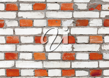 Background texture of red and white brick wall pattern