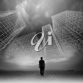 Man goes under dark cloudy sky with abstract wire frame structures, black and white collage photo mixed with digital 3d illustration