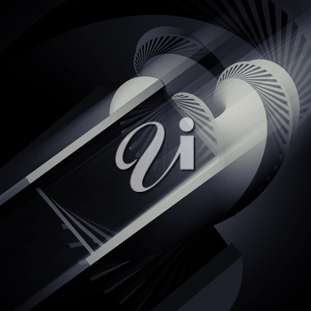 Abstract helix object on black background, 3d render illustration