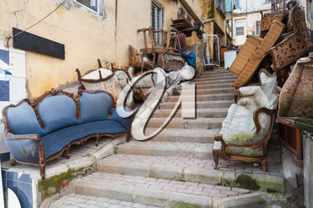 Old abandoned furniture on the street of Izmir, Turkey