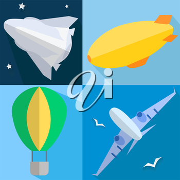 Set into flat style airplane, airship, balloon, space shuttle of vehicles. Vector illustration