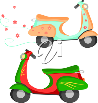 Set of two vector colored retro vintage scooters with pattern. Vector illustration