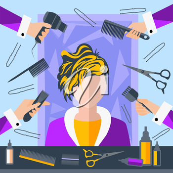 Set of tools for hairdressers in a flat style. Girl in a beauty salon. In the hands of stylists comb, hair brush. The modern concept of icons for your design. Vector Illustration