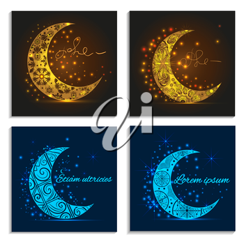 Set of beautiful greeting cards on a white background with decorative  crescent moons and lights, text invitation. Sovremennaya design concept. Vector illustration