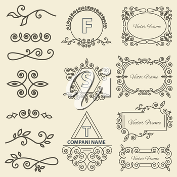 Set Logos, framework, individual ornament elements linear monogram Elegant jewelry line. Isolated vector illustration