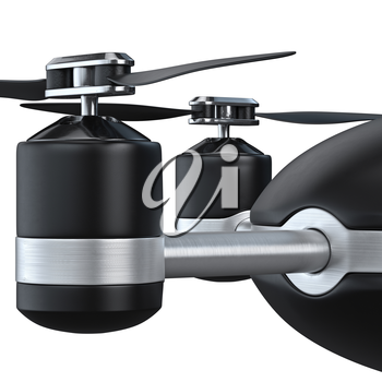 Flying automatic drone, close view. 3d graphic object on white background