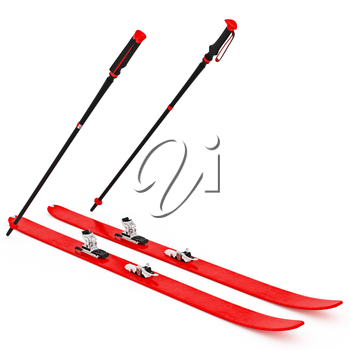 Skiing pink, fixation and ski poles. 3D graphic isolated object on white background