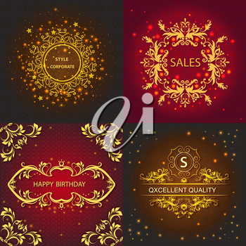 Set cards with pattern, floral design, greeting cards decorated shiny lights. Vector Illustration