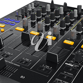 DJ mixer control panel with buttons to change settings, close view. 3D graphic