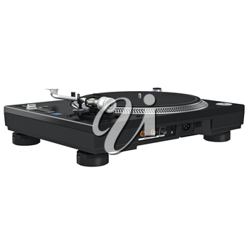 Dj music turntable mixer equipment with chrome elements. 3D graphic