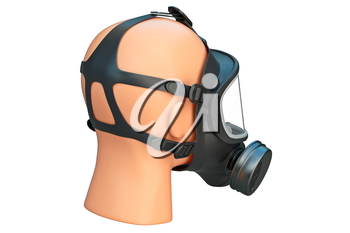 Safety pro mask respirator on locks. 3D graphic