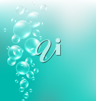 Transparent air bubbles in water on cyan background