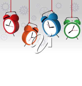 Four multicolored alarm clocks on gray background