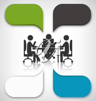 Infographic Element Business Meeting on Grayscale Background
