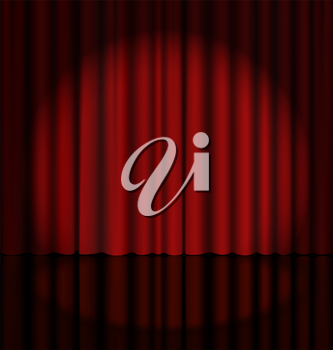 Red Stage Curtain with Light Spot
