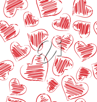Seamless pattern of hand-drawn hearts isolated on white background
