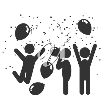 Flat festive icon with people, balloons and confetti isolated on white background