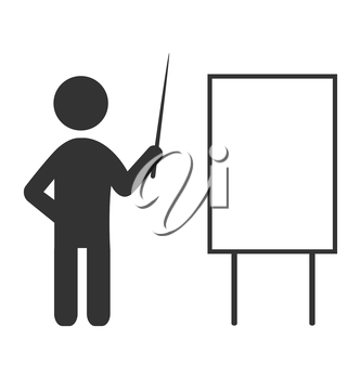 Flat icon with blank board like space for text and man with pointer isolated on white background