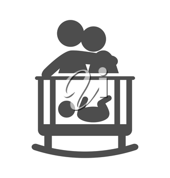 Parents put to sleep the baby pictogram flat icon isolated on white background