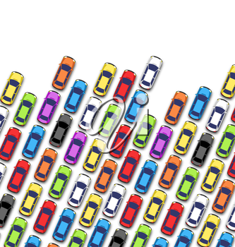 Traffic jam on the road with cars isolated on white background