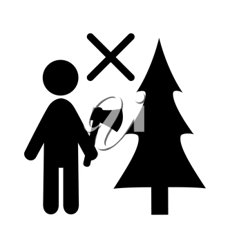 Winter Attention Do Not Chop Christmas Tree Flat Black Pictogram Icon Isolated on White Background