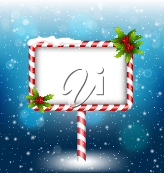 candy cane billboard with holly sprigs in snowfall on blue background