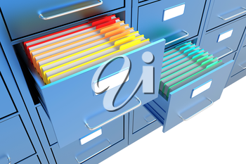 Folders in the open file cabinet