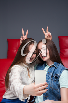 Two funny girlfriends sitting on red leather couch and makes selfie on phone camera. Female friendship. Leisure of happy girls