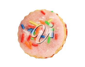 Pink frosted sugar cookie with colorful sprinkles