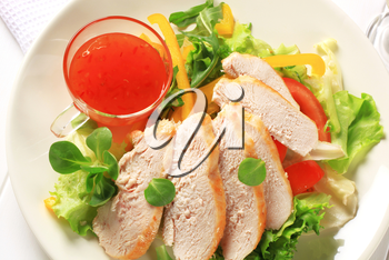 Sliced chicken breast fillet with salad and sweet chilli sauce