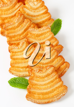 Italian puff pastry cookies coated with sugar