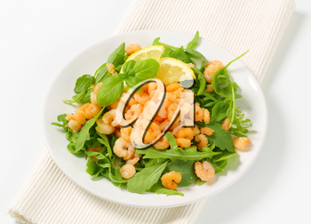 Spicy shrimps on bed of salad greens