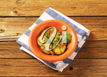 Bowl of grilled marinated zucchini