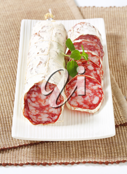 Sliced French Saucisson Sec on long white plate