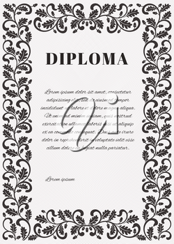 Template for diploma with Guilloche background grid and ornate frame. Frame decorated twisted branches with oak leaves and acorns.