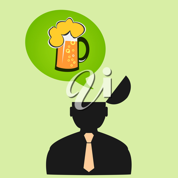 Icon man thinks about beer on Friday.