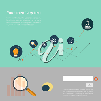 Set of flat design concepts for web and printing.