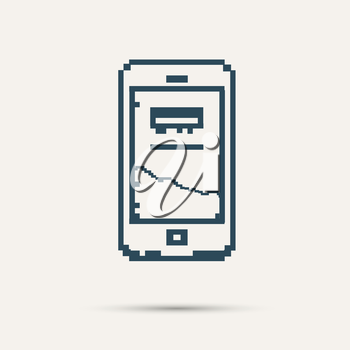 Simple stylish pixel icon phone. Vector design.